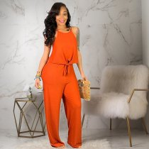 WGW Solid Crop Tops And Long Pant Two Piece Set MN3078