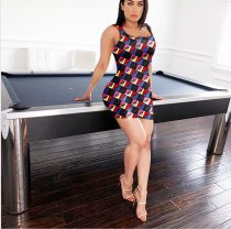 WGW Sexy Printed Sleeveless Mini Tank Dresses IV8016