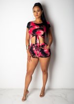 WGW Tie Dye Print Tie Up Short Sleeve Two Piece Shorts Set SHD9129