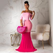 WGW Sexy Off Shoulder Bodycon Mermaid Maxi Dresses BS1095