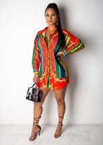 WGW Colorful Striped Long Sleeve Button Up Shirt Dress SHD9128