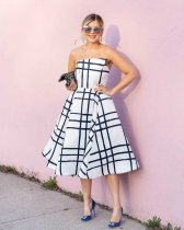 WGW Plaid Print Strapless Big Swing Knee Length Dresses SHA6071