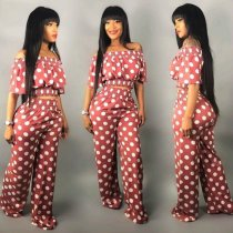 WGW Polka Dot Slash Neck Crop Top WideLeg Pants Set PIN8377