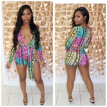 WGW Casual Printed Deep V Neck Long Sleeve Rompers TR921