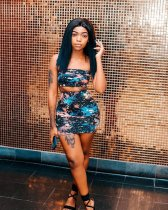 WGW Colorful Print Tube Tops And Mini Skirt Sets MOS896