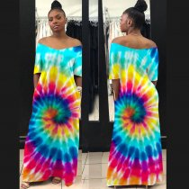 WGW Printed Off Shoulder Short Sleeve Big Swing Maxi Dress TE3725