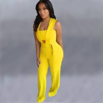 WGW Fashion Solid Sleeveless Belted Jumpsuits OMY5116