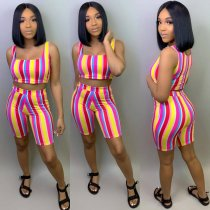 WGW Striped Tank Tops And Short 2 Piece Set HMS5213