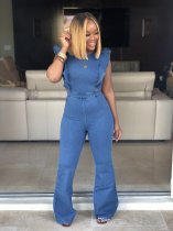 WGW Ruffles Open Back Zip Flare Leg Denim Jumpsuit HGL1138-1
