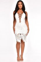 WGW White Spaghetti Strap Hollow Out Midi Dress MOS891