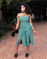 WGW Elegant Solid Off Shoulder Split Leg Jumpsuits MAE187