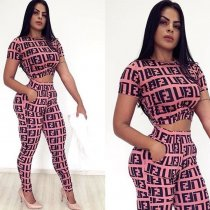 WGW Casual Printed Short Sleeve Two Piece Set LP6131