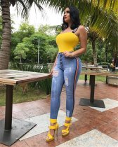 WGW Sexy Denim Striped High Waist Jeans Long Pencil Pants LX8902