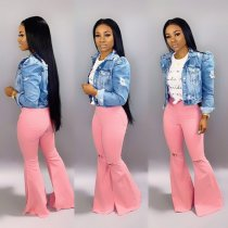 WGW Denim High Waist Flare Pants Holes Jeans LA3109
