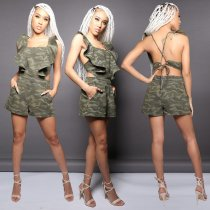WGW Denim Camouflage Print Open Back Rufeles Side Rompers AL085