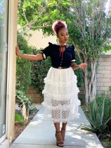 WGW Polka Dot Mesh Cascading Long Skirts LS0266