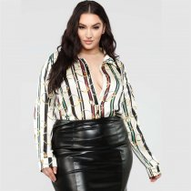 WGW Plus Size Long Sleeve Turndown Collar Shirt MC3060