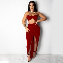 WGW Sexy Crop Tops And Knotted Slit Maxi Skirts Sets YF9370