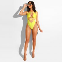 WGW Sexy Halter Cut Out One Piece Swimsuit ME242