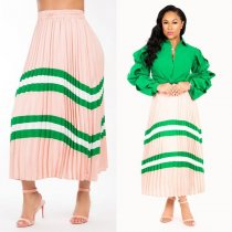 WGW Fashion Striped Long Pleated Skirts LSD8313