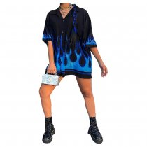 WGW Retro Printed Half Sleeve Button Up Loose Blouse IV8008
