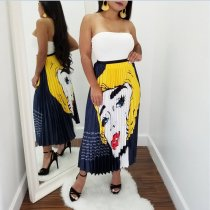 WGW Fashion Cartoon Print Long Pleated Long Skirts AL097