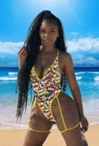 WGW Letter Print Sexy Deep V Neck One Piece Swimsuit YSF282