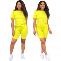 WGW Solid Tracksuit Short Sleeve Two Piece Shorts Set TE3779