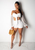 WGW Sexy Mesh Off Shoulder Bow Tie Two Piece Shorts Set WY6584
