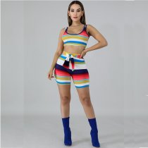 WGW Sexy Striped Tank Tops And Shorts Two Piece Sets AWN5032