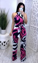 WGW Sexy Printed Sleeveless Sashes Long Jumpsuits OY6006