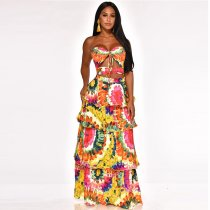 WGW Floral Print Strapless Cascading Long Maxi Dresses YF9392