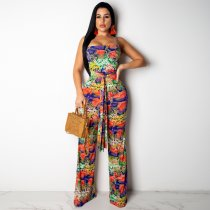 WGW Sexy Printed Spaghetti Strap Sashes Long Jumpsuit SH3603
