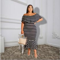 WGW Plus Size Striped Slash Neck Slim Long Dresses ME5036