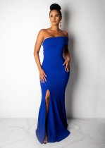 WGW Sexy Strapless High Split Bodycon Maxi Evening Dresses LUO6200