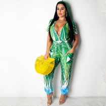 WGW Sexy Printed V Neck Short Sleeve Hooded Long Jumpsuits YF9381