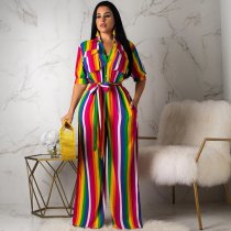 WGW Colorful Striped Half Sleeve Sashes Long Jumpsuits BLX7317
