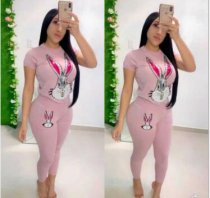 WGW Rabbit Print T Shirt And Long Pants Casual 2 Piece Set GS1143