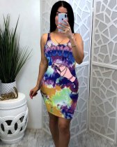 WGW Tie Dye Print Sleeveless Bodycon Dresses CXM8052