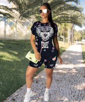 WGW Casual Printed Short Sleeve Two Piece Shorts Set GS1146