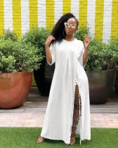 WGW White Half Sleeve High Split Casual Loose Maxi Dress LS0274