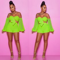 WGW Sexy Mesh See Through Off Shoulder 2 Piece Shorts Set NY8810