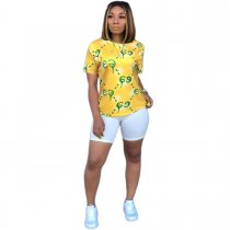 WGW Letter Print Casual Short Sleeve O Neck T Shirt YIY5035