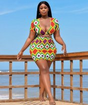 WGW Colorful Stripe V Neck Crop Top Bodycon Mini Skirt Sets QZX6070