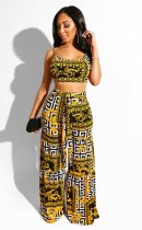 WGW Retro Print Camisoles Top And Wide Leg Pants Set LUO6208