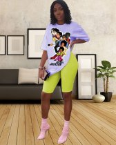 WGW Cartoon Print T Shirt And Shorts Casual 2 Piece Sets YSF286