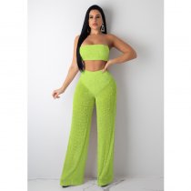 WGW Sexy Knitting Hollow Out Strapless Wide Leg Pants 2 Piece Sets YF9393