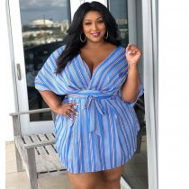 WGW Plus Size Striped V Neck Short Sleeve Sashes Mini Dress ME5035