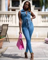 WGW Denim Button Up Sleeveless Sashes Jeans Jumpsuits OSM3279