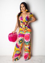 WGW Floral Print Sexy V Neck Tie Up Long Jumpsuits LUO6199